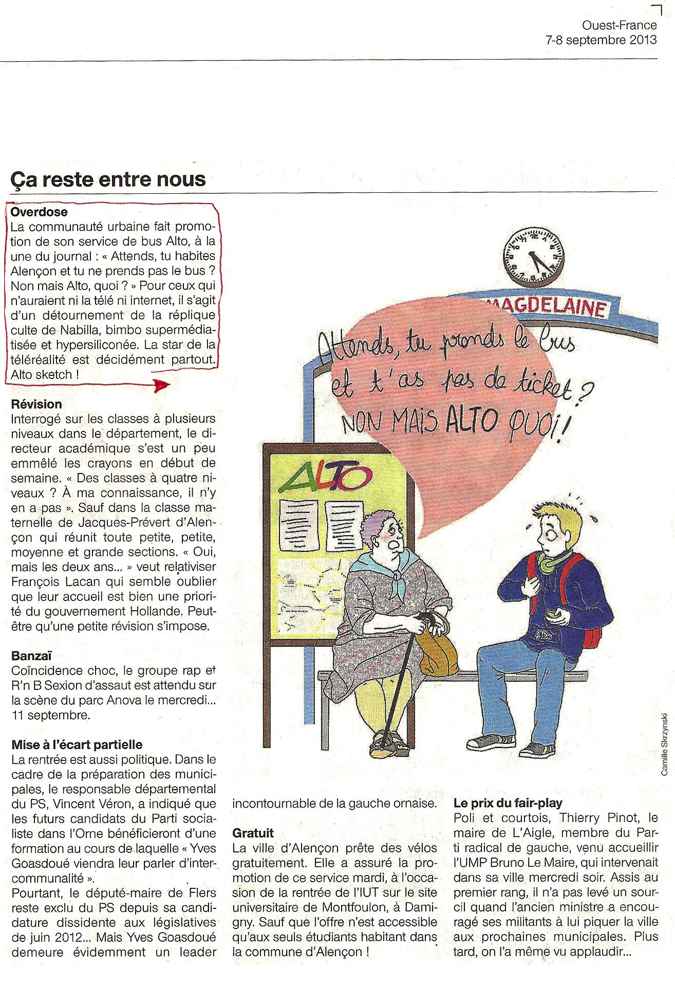 Camille Skrzynski - Petites BD du Jour dans le Ouest France Orne