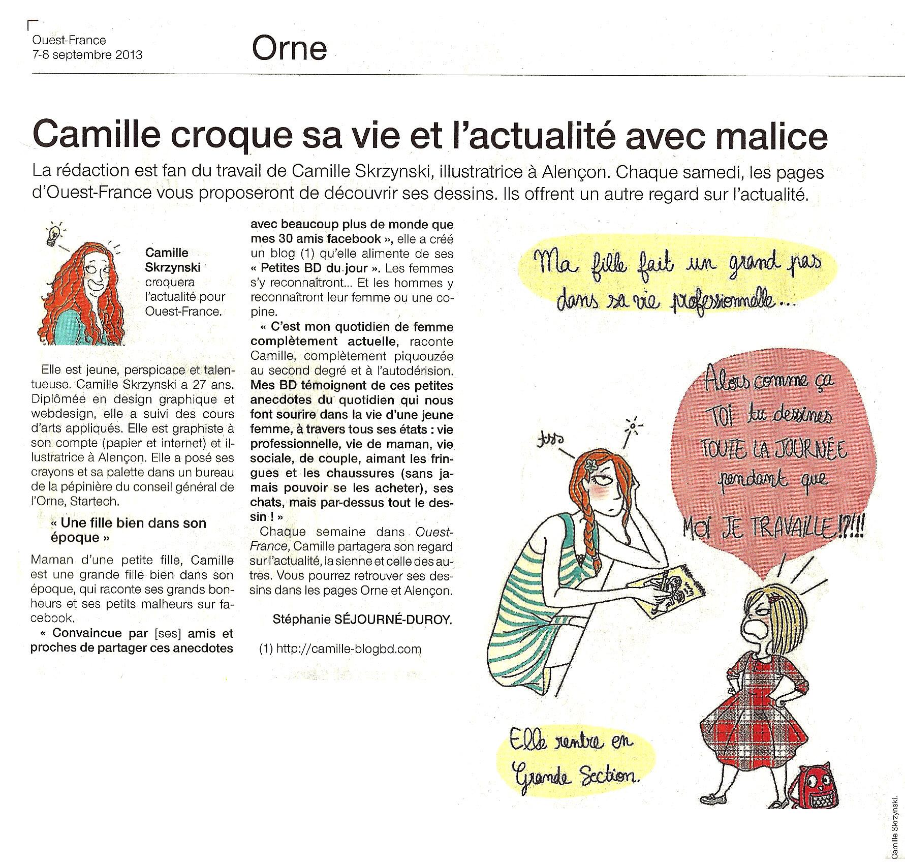 Les BD de Camille Skrzynski dans le OUest-France !