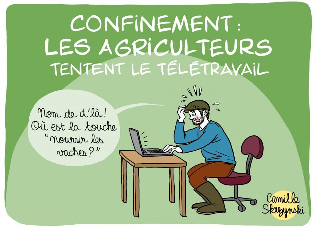 Agriculteur télétravail - Droits d'auteur : Camille Skrzynski